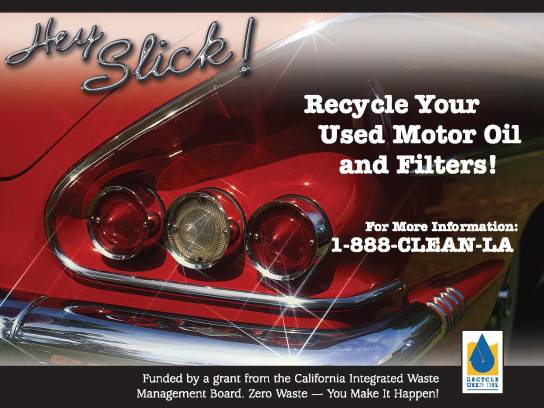 Used oil recycling ad for City of Downey