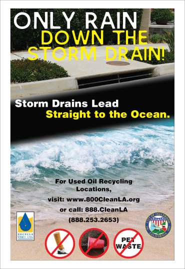 Storm drain bus shelter ad for the City of Inglewood