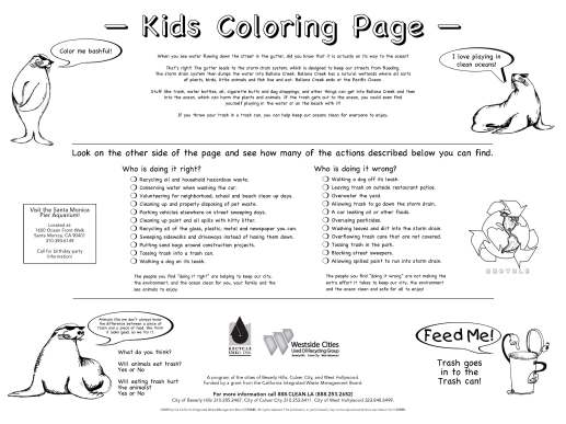 Culver City kids' coloring + recycling activities page