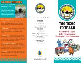 Used oil and hazardous waste recycling brochure for the City of Downey
